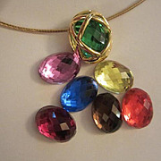 Vintage Signed Joan Rivers 7 Interchangeable Colored Stones Classic Collection Necklace