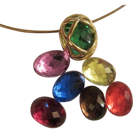 signed joan rivers 7 interchangeable colored stones