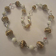 Fabulous Vendome Signed Brushed Textured Gold plate and AB Glass Necklace