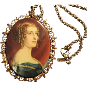 "Classic Woman Portrait Pendant Filagree Frame on 30"" Rope Chain Signed"
