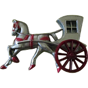 Vintage Celluloid Painted Cinderella Stagecoach with Horse Brooch/Pin
