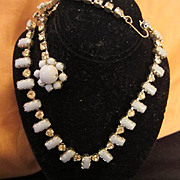 Rare Gorgeous Crown Gail Signed Blue Milk Glass Back Neck Adornment Chic Couture Necklace