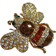 Gorgeous Vintage Rhinestone Enamel Bumble Bee Brooch/Pin