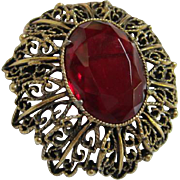 Ornate Vintage Ruby Red Glass Stone Brooch/Pin