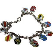 Fabulous Vintage Traveler Souvenir  Enamel City Shields Germany Hallmarked Silver Bracelet