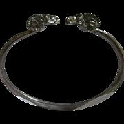 Wonderful Vintage Double Ram's Heads Embossed Silver Metal Bracelet