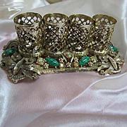 Vintage Lipstick Holder 1950s Jeweled Peking Glass Ormolu Filigree Gold Tone Signed SF