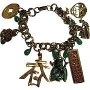 Vintage Asian Charm Bracelet 7 Charms & Green Glass Teardrop Dangles