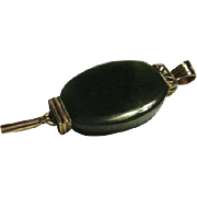 Lovely Chinese Export Vintage Thick Oval Jade Pendant with Dangles Vermeil Marked Silver