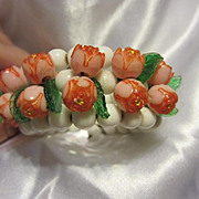 Gorgeous Vintage White Glass Memory Bracelet with Pink Rosettes