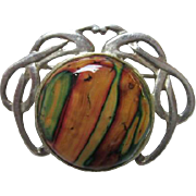 Gorgeous Moss Agate Art Nouveau style Celtic Sterling Silver Brooch/Pin
