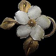 Striking Vintage Dogwood Sterling & Vermeil Flower Figural Pin Signed