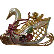 Rare Kirks Folly Signed Swan Princess Brooch/Pin