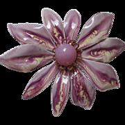 Fabulous Vintage Lavender Marbelized Flower Power Enamel Pin
