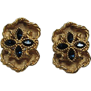 Stunning Signed Vintage Sapphire Glass Clip Earrings Voslo Designs