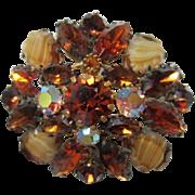 Gorgeous Topaz Art Glass AB Rhinestone Unsigned Beauty Brooch/Pin