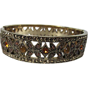 Beautiful Quality Gold plated Amber & Topaz Cabochon Rhinestone Marcasite Bangle Bracelet