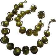 Fabulous Rare Olivine Moonglow Parure Modernist Necklace Bracelet Earrings Coro Signed Vintage Set