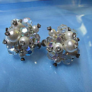 Gorgeous Vendome AB Crystal & fx Pearl Cluster Earrings Signed