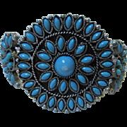 Vintage Petit Point faux Turquoise Silver tone Southwestern Zuni type Bracelet
