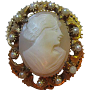 Florenza signed Genuine Shell Carved Cameo Portrait Pin fx Pearls Pin/Pendant