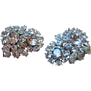 Gorgeous Crown Trifari Sparkling Flowers Crystal Bridal Occasion Vintage Earrings Signed
