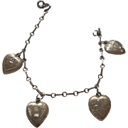 Sterling Silver Puffy Heart Etched Flowers and Birds Rectangular Linked Charm Bracelet Thumb Spring Ring Clasp