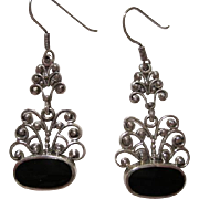 Beautiful Ornate Sterling Silver Onyx Vintage Earrings French Hooks