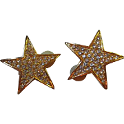 Fabulous Joan Rivers Gold plate Star Pave Earrings Clip Back Signed