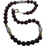 Garnet and Fresh Water Pearls 14K Gold Clasp Bracelet