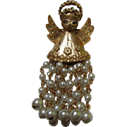 Rare Hattie Carnegie Angel Pin with 12 faux Pearl Dangles Limited Edition Book Piece
