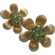 Crown Trifari Signed Beautiful Green Flower Clip Earrings
