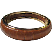 Wonderful Vintage Leather Bangle Bracelet Made in Florence Italy