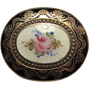 Beautiful Floral Guilloche Enamel with Ornate Oval Black Enamel Frame Vintage Brooch Pin