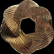 Fabulous Art Deco Swirl Gold Plated Statement Pin Brooch