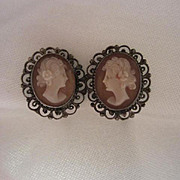 Beautiful Victorian Shell Cameo Silver Filagree  Earrings