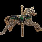 Carolee Enamel Rhinestone Carousel Horse Pin Signed
