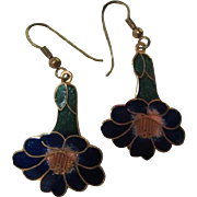 Beautiful Cloisonne Enamel Flower Earrings on French Hooks
