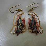 Beautiful Cloisonne Enamel Butterfly Earrings on French Hooks