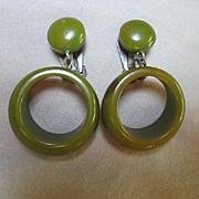 Bakelite Spinach Green Hanging Hoop Clip Vintage Earrings