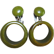 Bakelite Spinach Green Hanging Hoop Clip Vintage Earrings