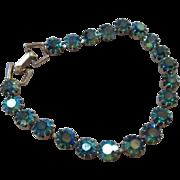 Gorgeous Weiss Iridescent Swarovski Polychromatic Peacock Blue AB Stone Line Vintage Bracelet