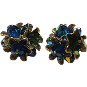 Gorgeous Vendome Signed Blue Green AB Crystal Flower Vintage Earrings Pristine