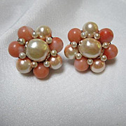 Beautiful faux Coral and Pearl Cluster Vintage Clip Earrings
