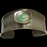 Vintage Modernist Denmark Jorgen Jensen Signed Pewter Turquoise Stone Handmade Bracelet