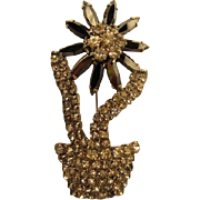 Fabulous HOBE signed Sparkly Rhinestone Hematite Navettes Flower in Pot Figural Statement Vintage Brooch Pin