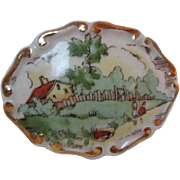 Wonderful Victorian Porcelain Hand Painted Country Scene Brooch Pin C Clasp