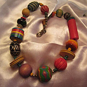 Funky Colorful Hand painted and Carved Wood Bead Vintage Necklace Boho OAK Must See!