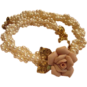 Delicate Pink Rose on Twisted Multi Strand faux Pearls Necklace Signed 1928