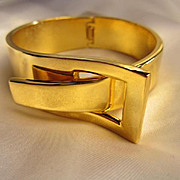 Modernist Vintage Buckle Clamper Bracelet Shiny Gold Color